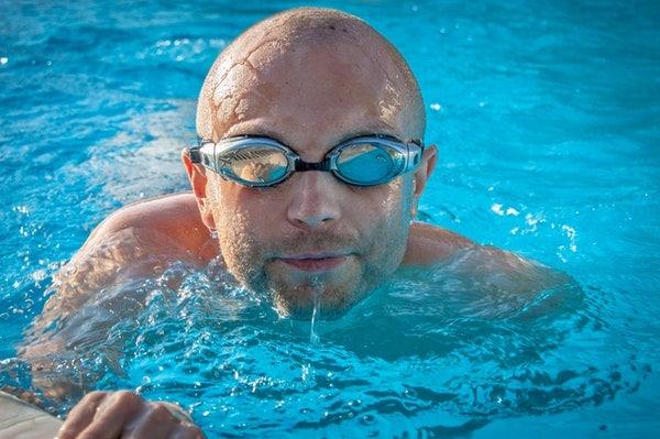 bald swimmer