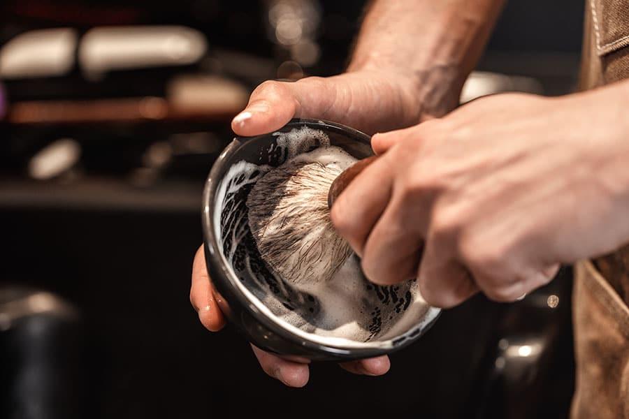 lathering up shaving soap